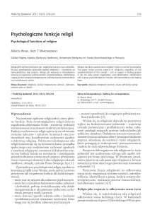 Psychologiczne funkcje religii Psychological functions of religion