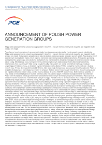 announcement of polish power generation groups
