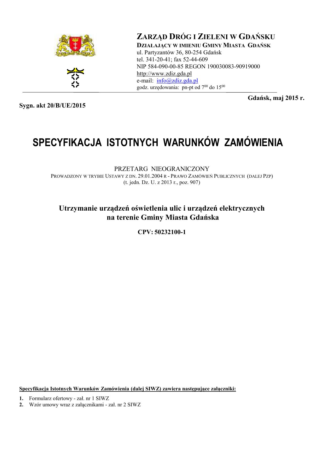 Specyfikacja Gdański Zarząd Dróg I Zieleni