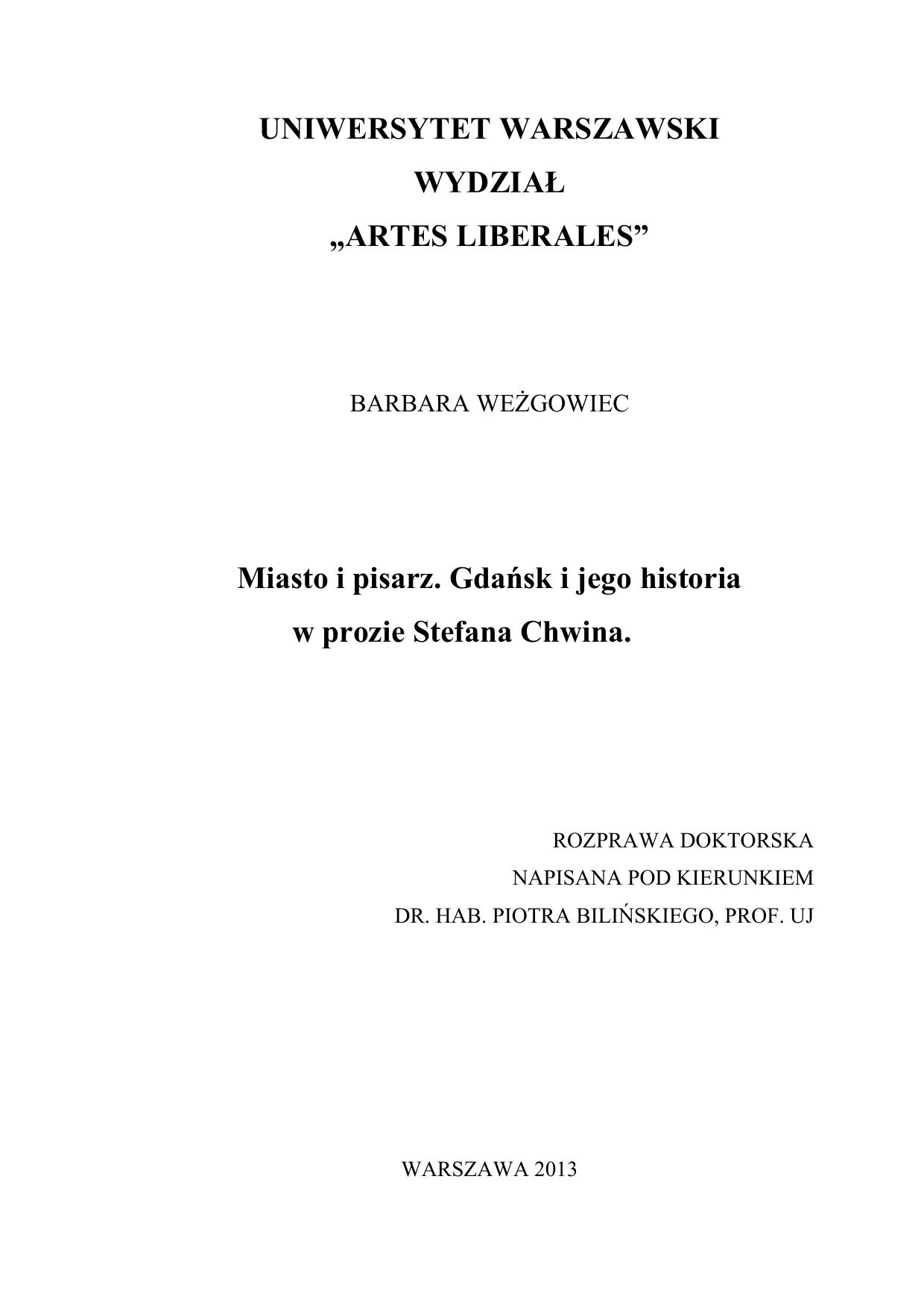 Miasto I Pisarz Gdańsk I Jego Historia W Prozie Stefana Chwina