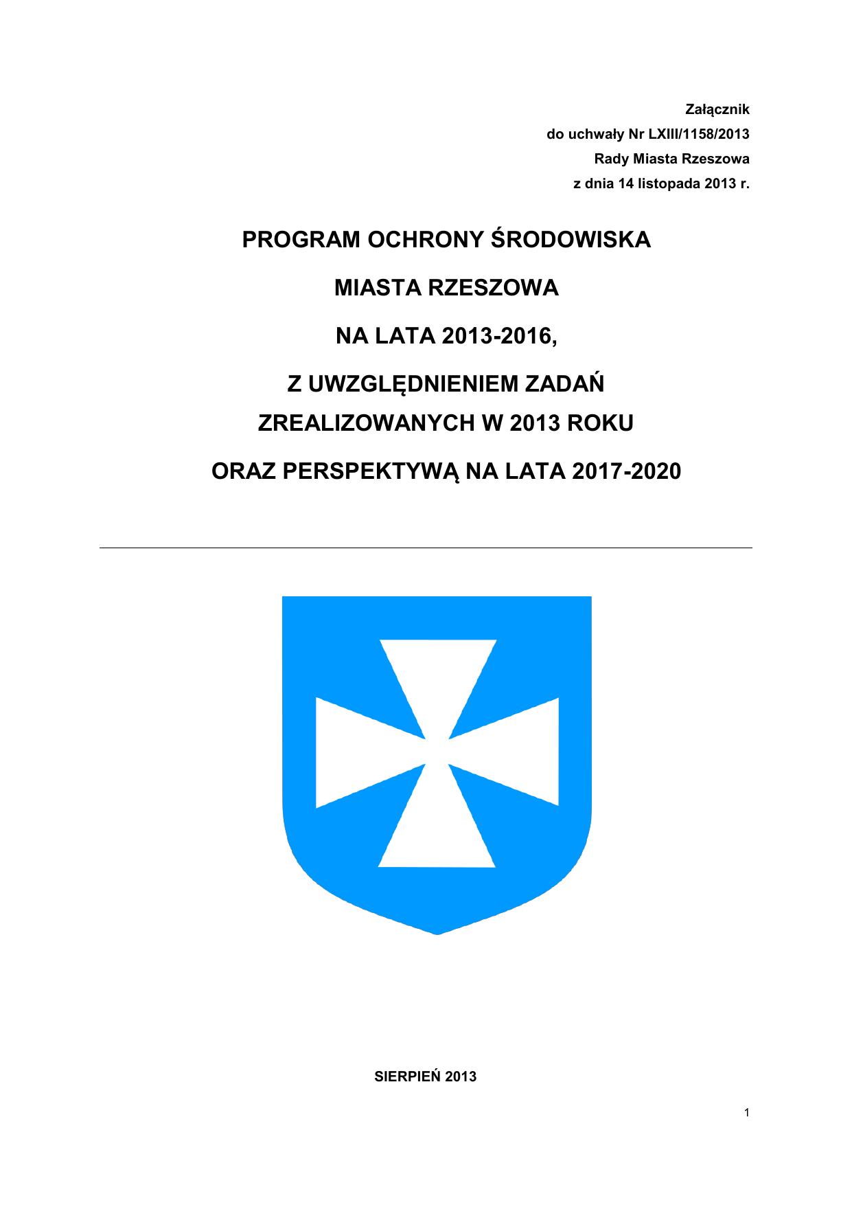 e3d482c95301cf Program ochrony środowiska miasta Rzeszowa na lata 2013
