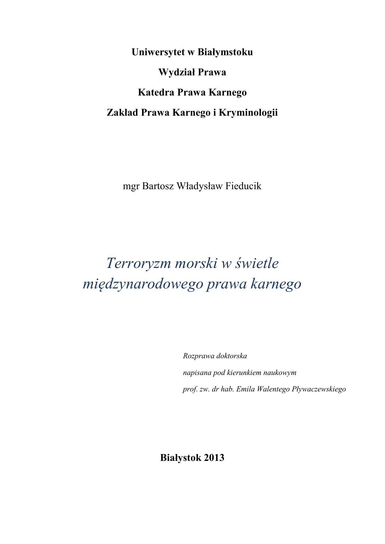 Terroryzm Morski W świetle Międzynarodowego Prawa Karnego