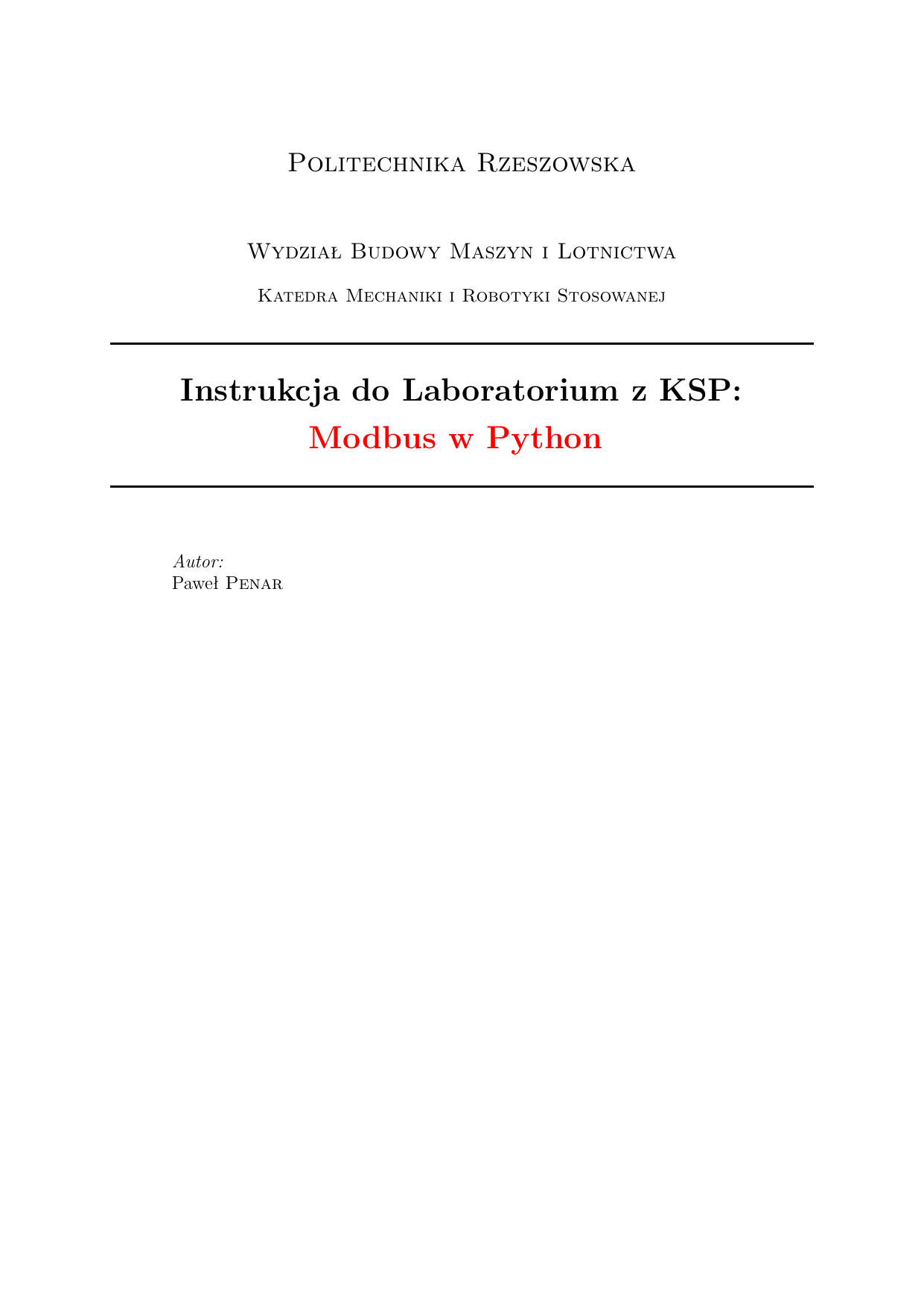 Modbus w Python - Politechnika Rzeszowska