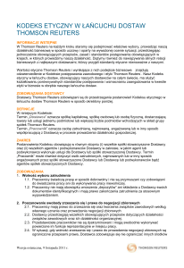 Thomson Reuters Supply Chain Ethical Code