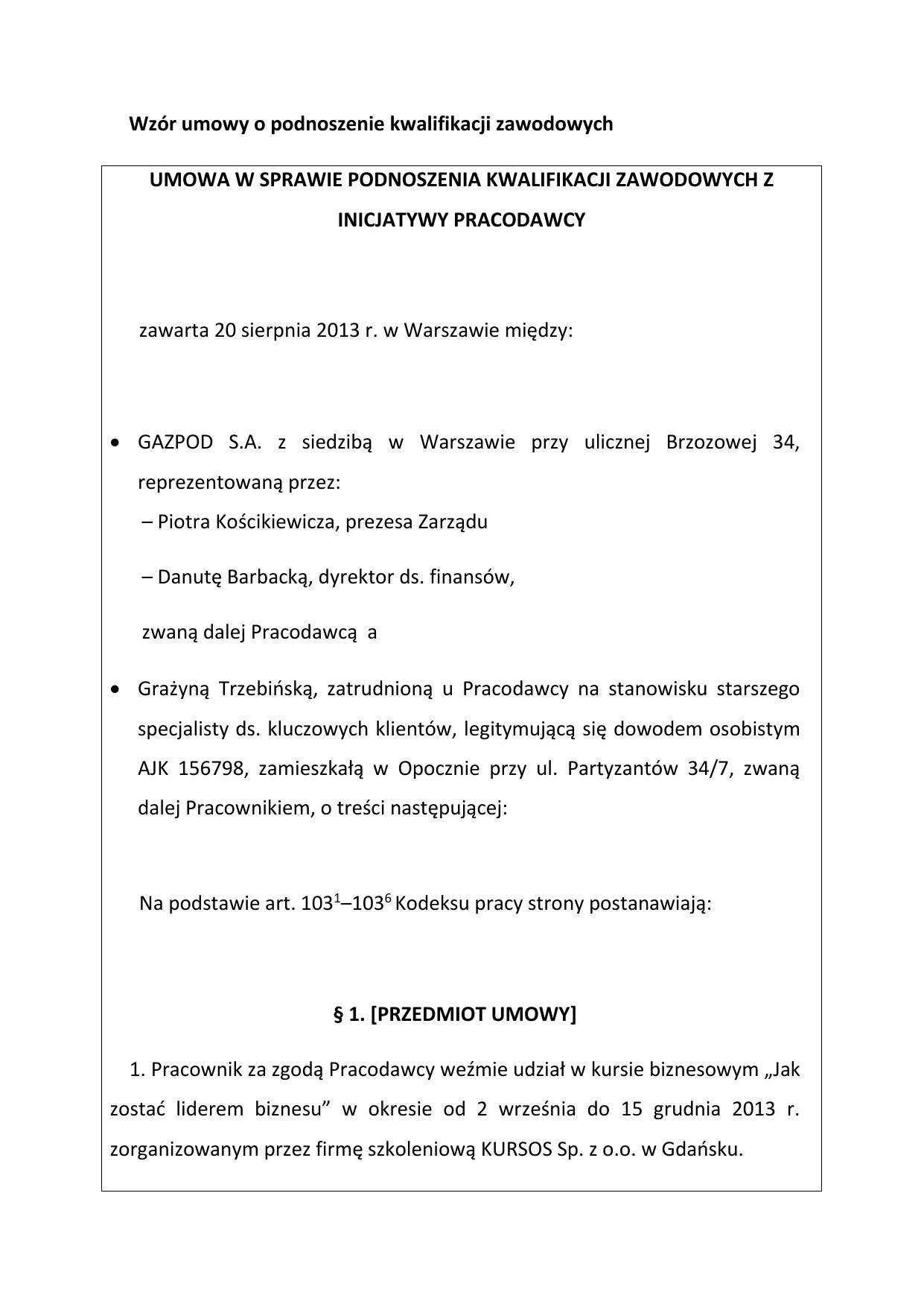 Wzór Umowy O Podnoszenie Kwalifikacji Zawodowych Umowa W