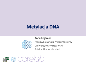 Metylacja DNA - laboratory of systems biology