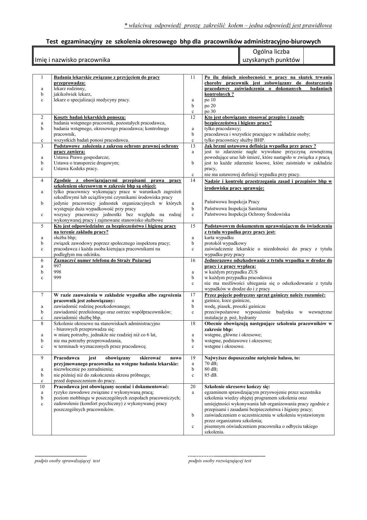 0103b92802267e Test egzaminacyjny ze szkolenia okresowego BHP dla