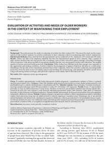 evaluation of activities and needs of older workers in the context of