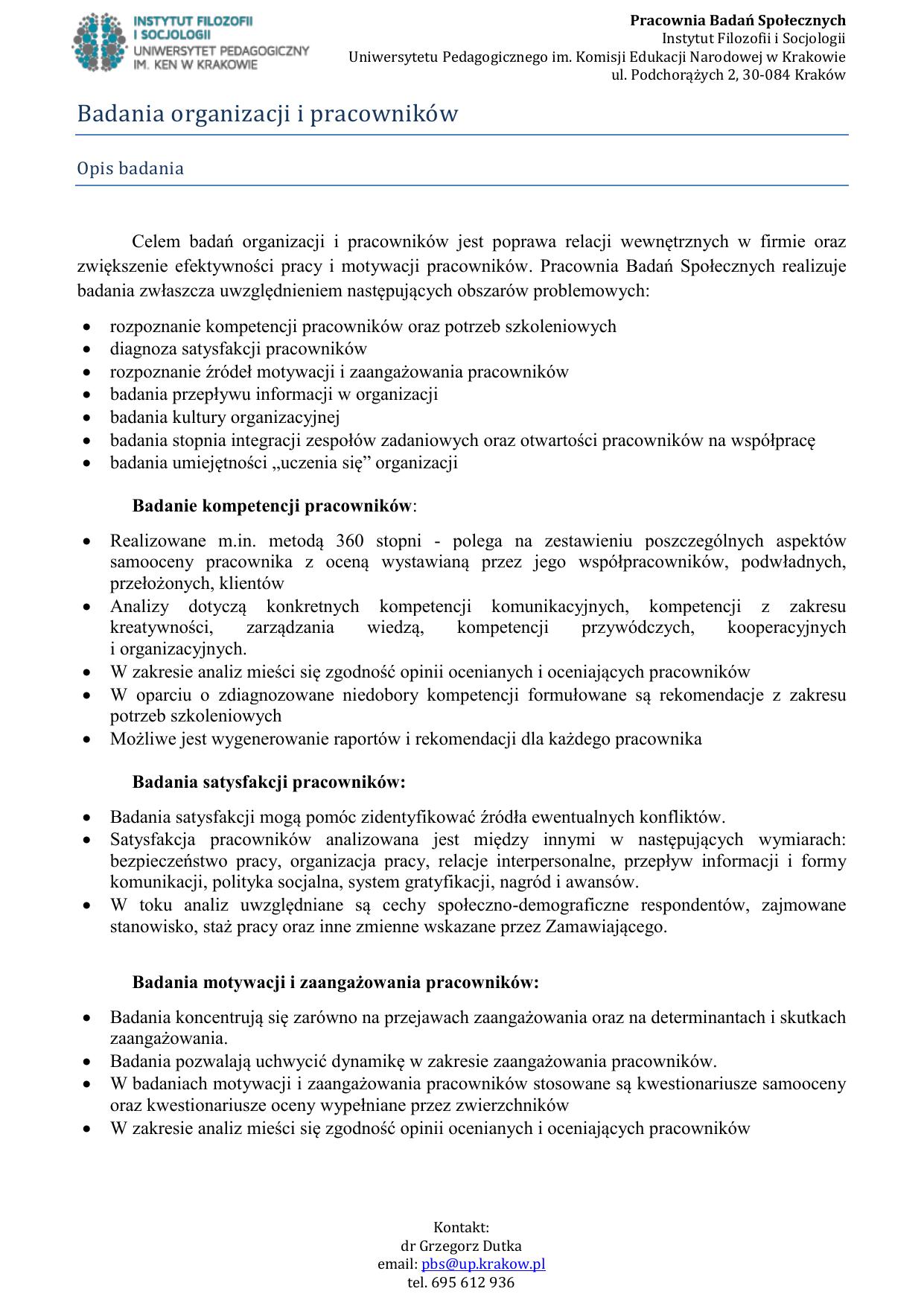 Badania Organizacji I Pracowniko W