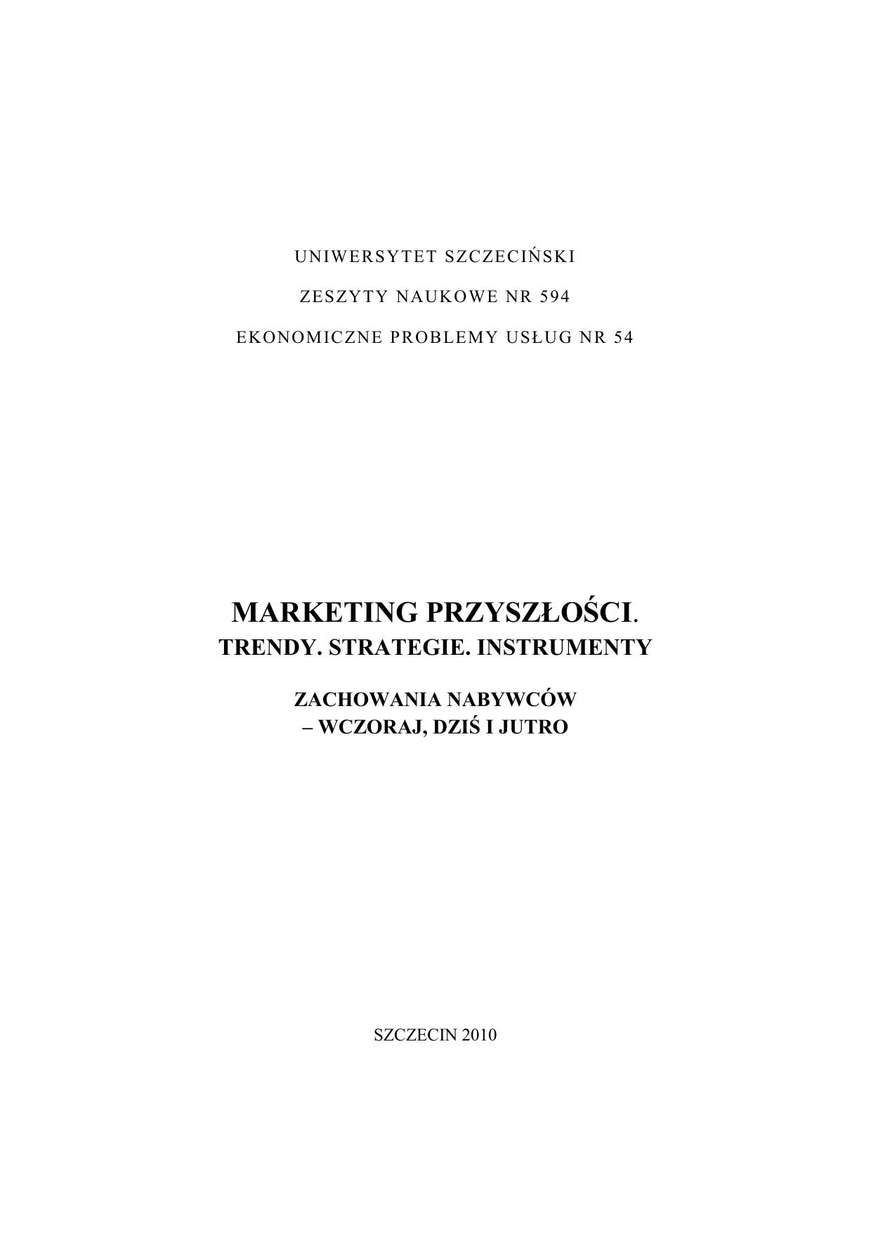 58579cffc98a0 marketing przyszłości. - Wydział Zarządzania i Ekonomiki Usług