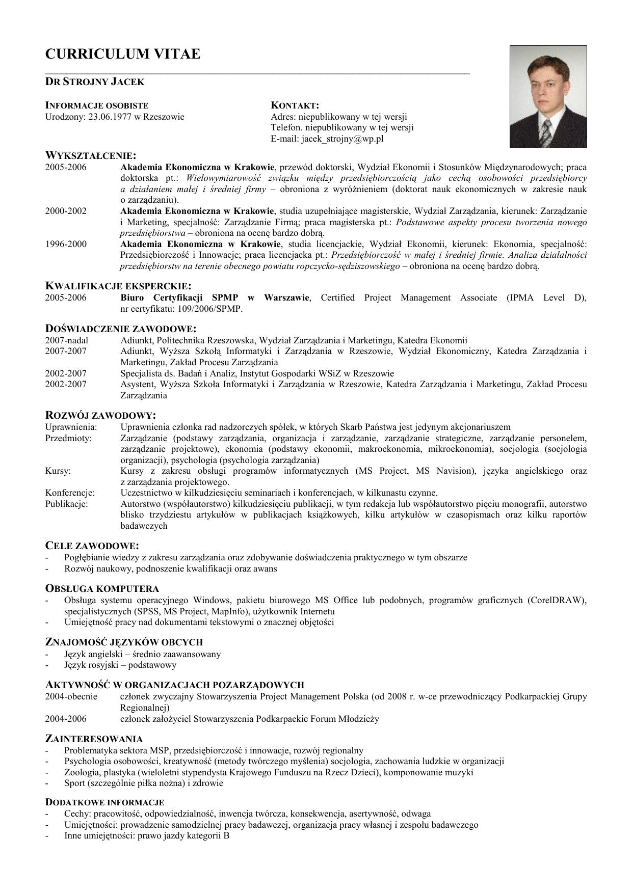 curriculum vitae w j zyku rosyjskim