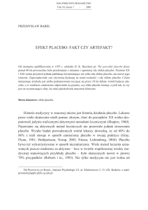 Efekt placebo: fakt czy artefakt? // Placebo effect: Fact or artifact?