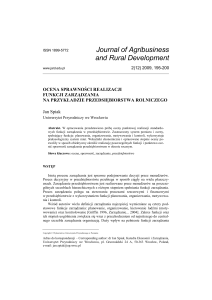 Ekonomia - Rocznik - Journal of Agribusiness and Rural Development