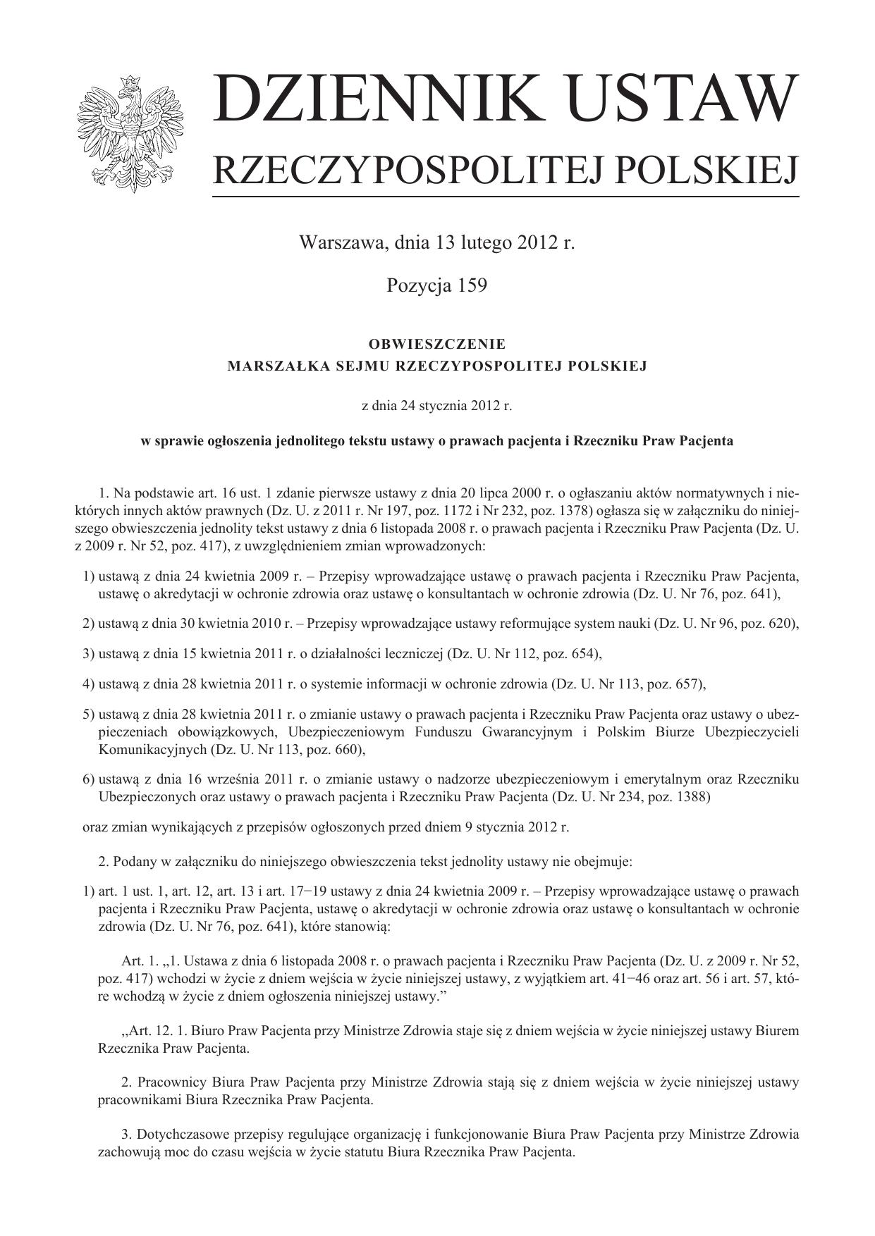 a632dd6ad020b9 Ustawa z dnia 6 listopada 2008 r. o prawach pacjenta i Rzeczniku
