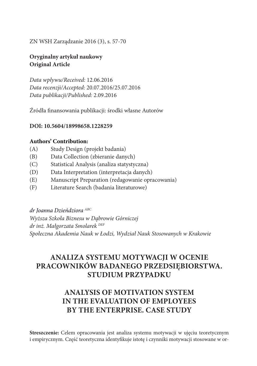 Analiza Systemu Motywacji W Ocenie Pracowników Badanego