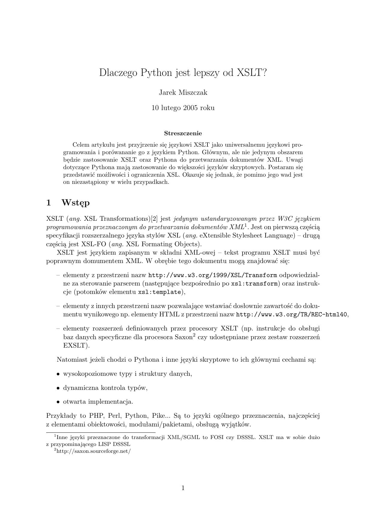 Dlaczego Python jest lepszy od XSLT