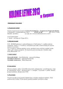 program kolonii - Centrum Psychologiczno