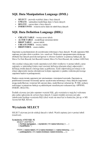 (DML) SQL Data Definition Language (DDL