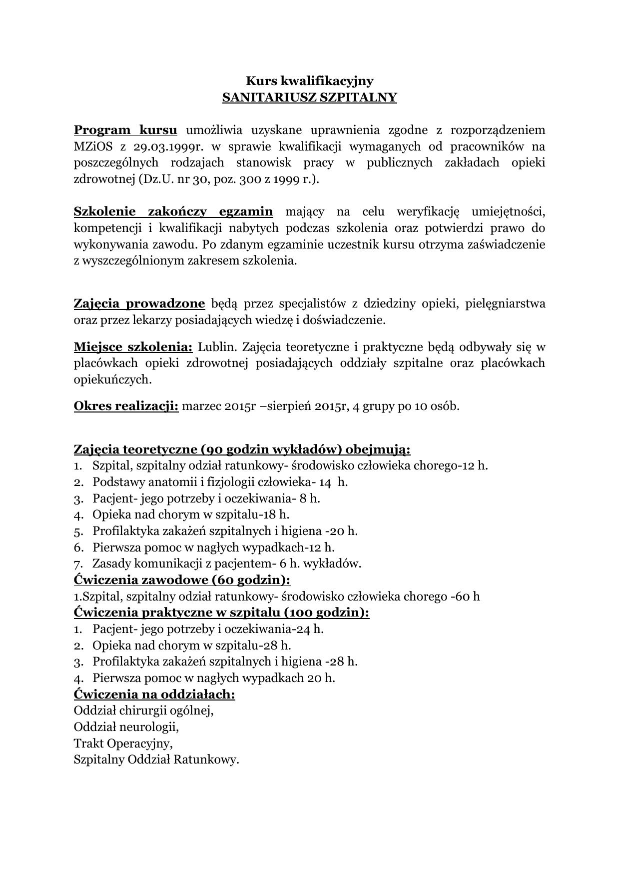 Sanitariusz Szpitalny
