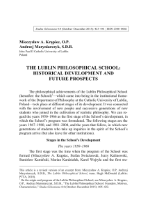 The Lublin Philosophical School - International Etienne Gilson Society