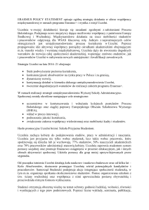 ERASMUS POLICY STATEMENT opisuje ogólną strategię