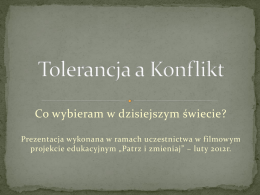 Tolerancja a Konflikt