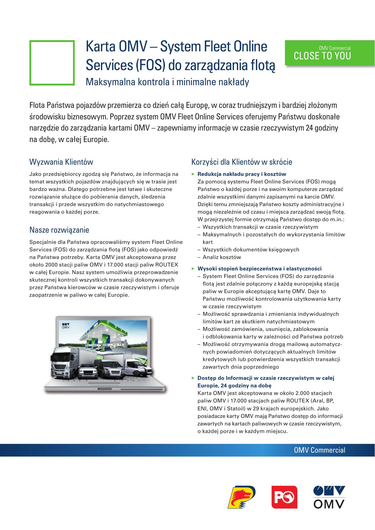Karta Omv System Fleet Online Services Fos Do