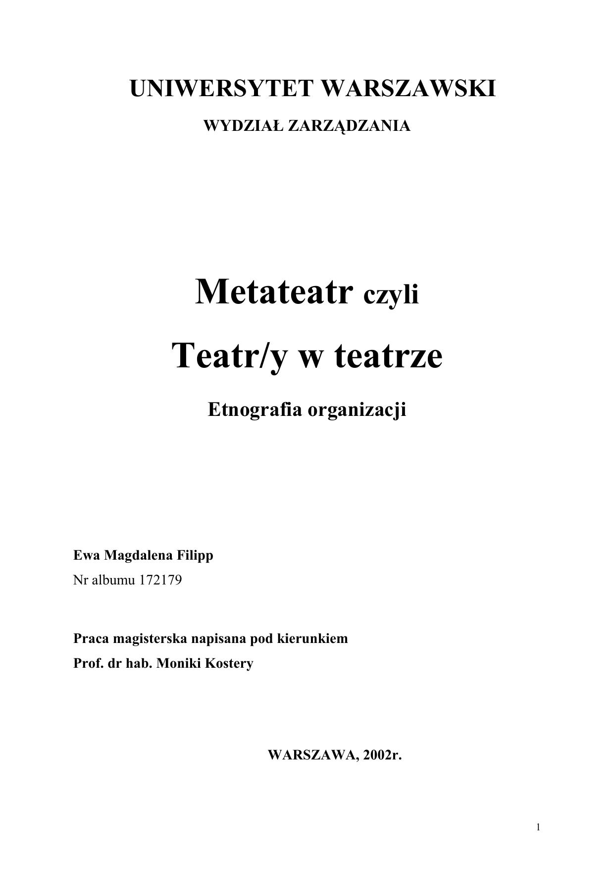 Metateatr Czyli Teatryw Teatrze