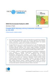 OECD Environmental Outlook to 2030 Przegląd OECD