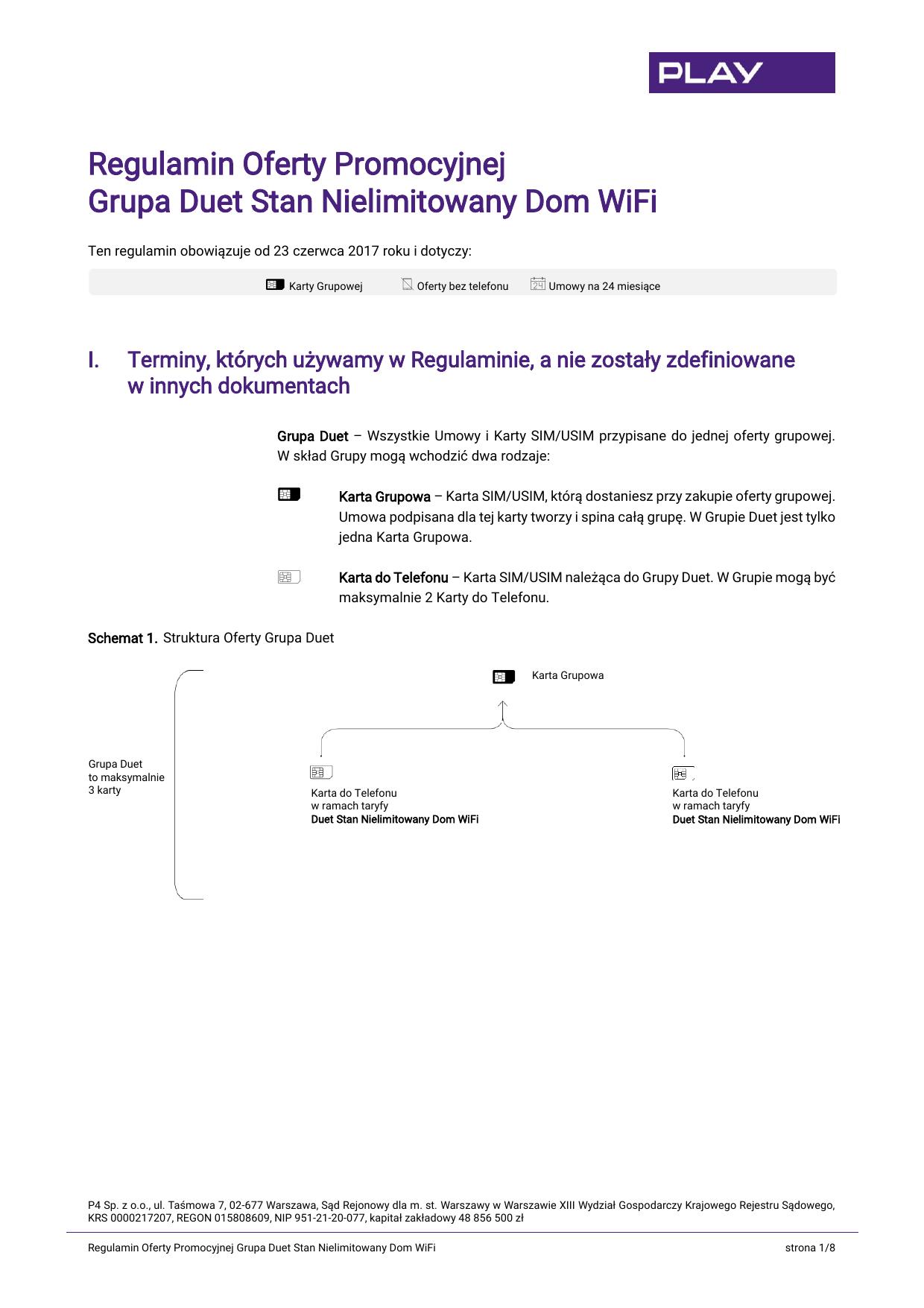 Regulamin Oferty Promocyjnej Grupa Duet Stan