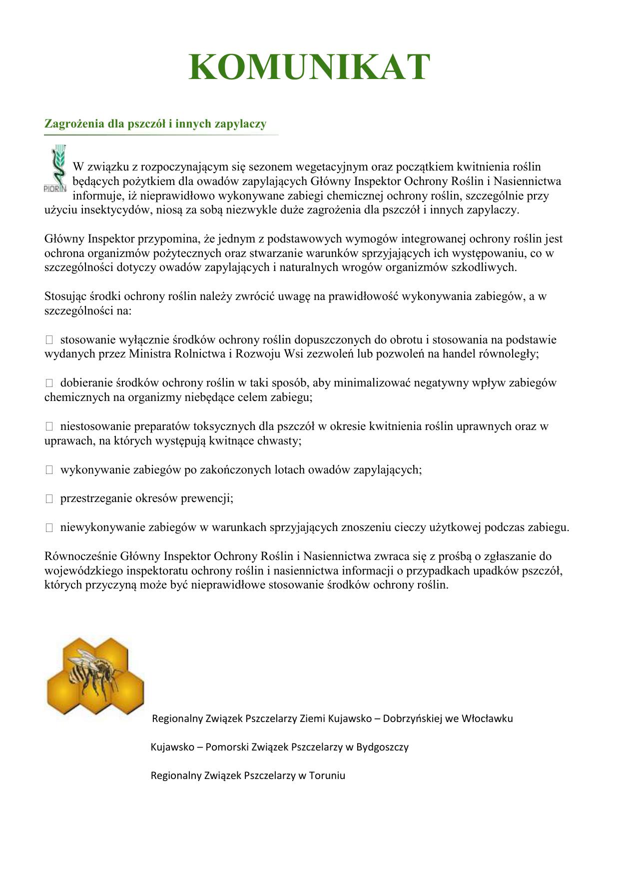 e277c8aa2b6b58 KOMUNIKAT Zagrożenia dla pszczół i innych zapylaczy W związku z  rozpoczynającym się sezonem wegetacyjnym oraz początkiem kwitnienia roślin  będących ...