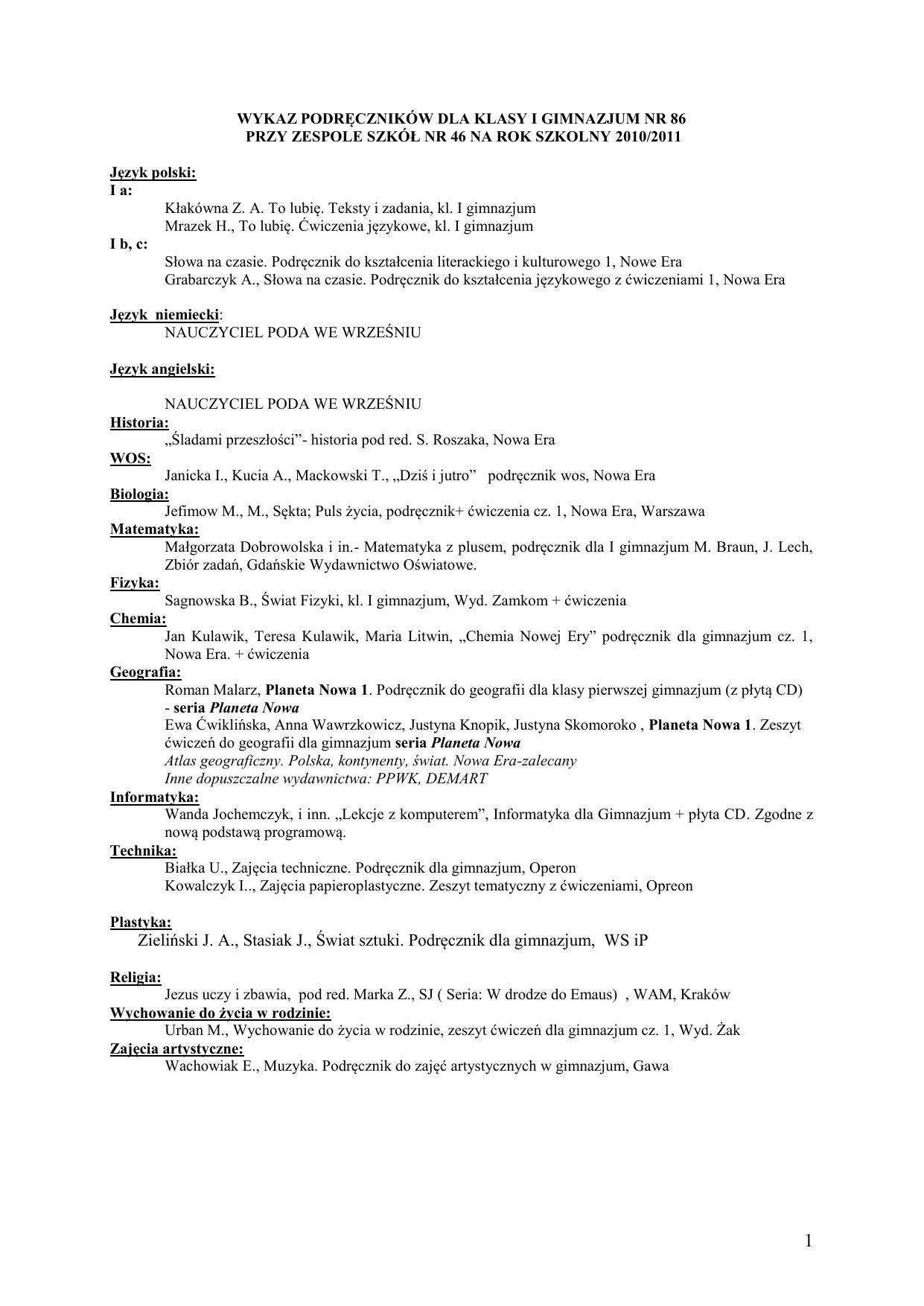 7ab59915e73c8c Podręczniki dla gimnazjum