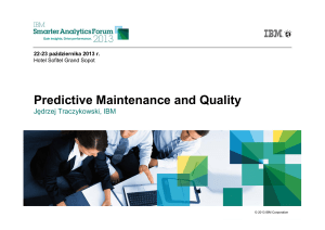 Predictive Maintenance and Quality