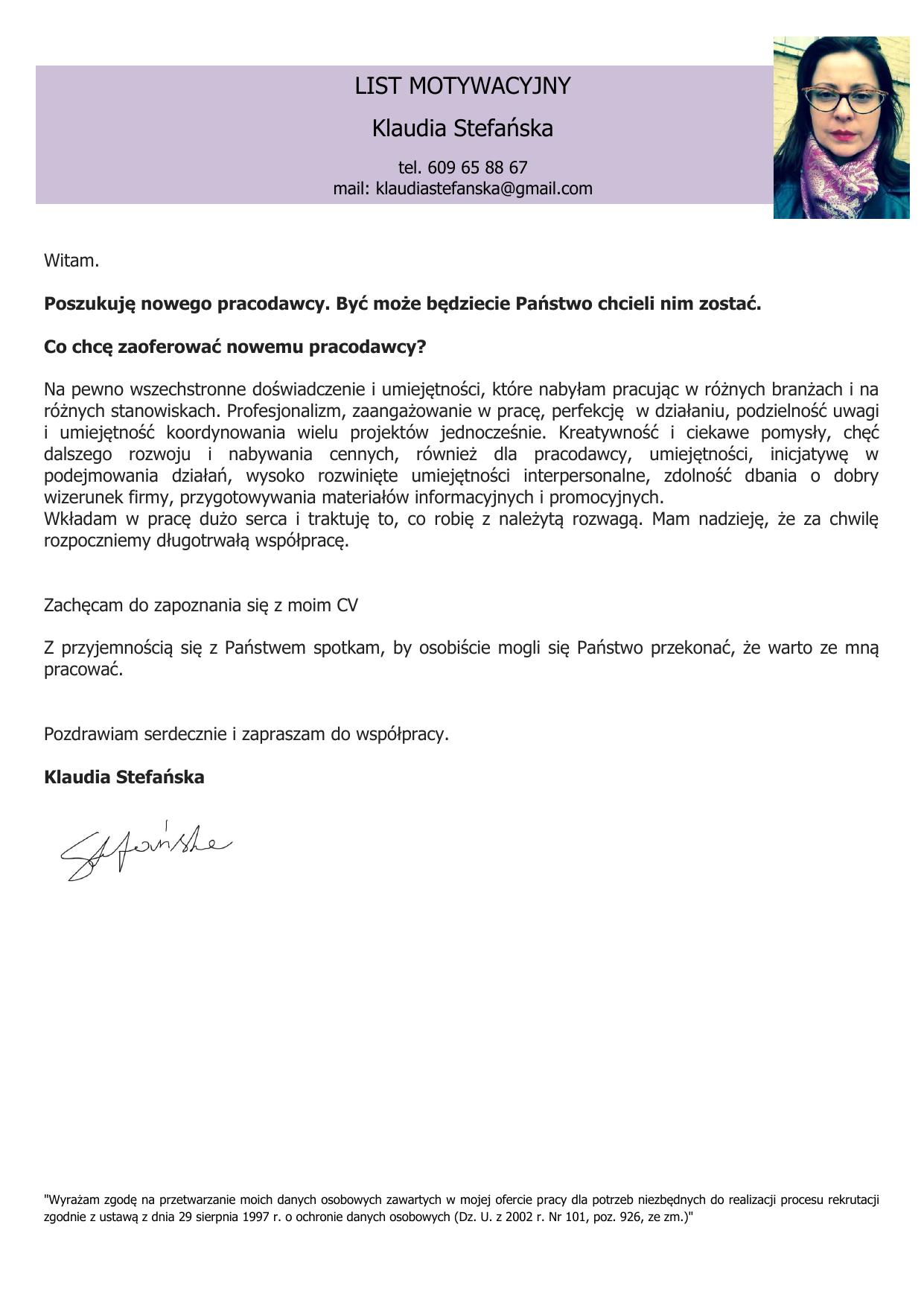 List Motywacyjny Klaudia Stefańska