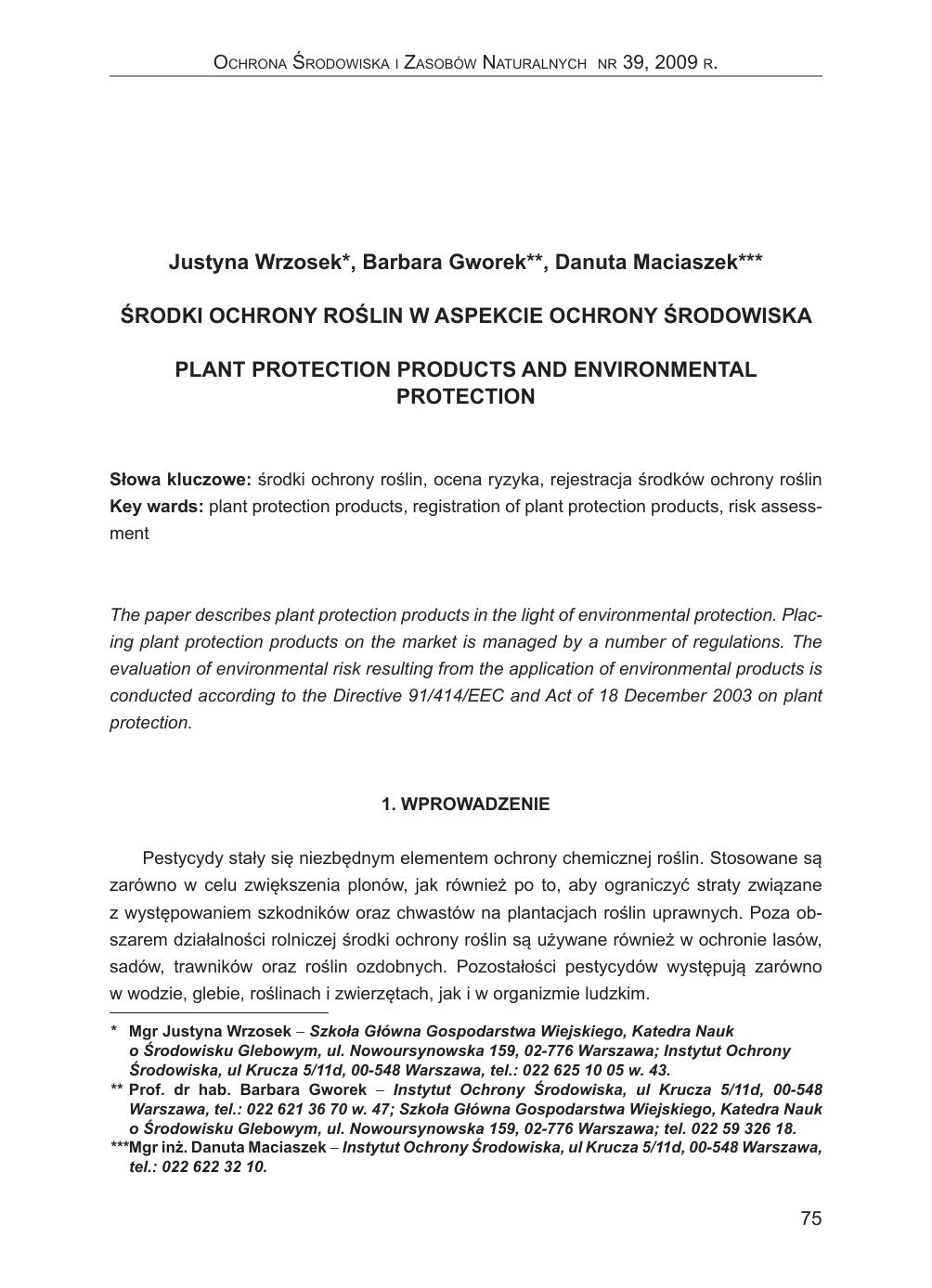 b6faf729114080 Środki ochrony roślin w aspekcie ochrony środowiska. Plant