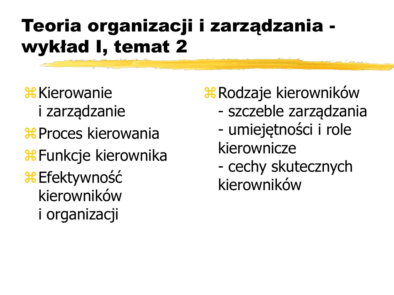Teoria Organizacji I Zarządzania